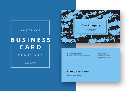 Trendy minimal abstract business card template in blue color. Modern corporate stationery id layout with geometric pattern. Vector fashion background design with information sample name text.