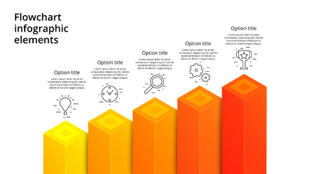 Business process chart infographics with 5 step segments. Square 3d corporate timeline infograph elements. Company presentation slide template. Modern vector info graphic layout design. Ilustrace