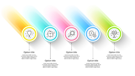 Infografiken zu Geschäftsprozessdiagrammen mit 5 Schrittsegmenten. Zirkuläre Infografikelemente der Unternehmenszeitleiste. Folienvorlage für Unternehmenspräsentationen. Modernes Vektorinfo-Grafiklayoutdesign.