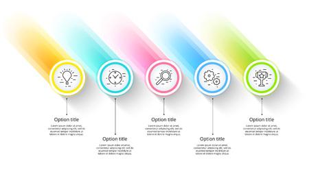 Infographics van de bedrijfsprocesgrafiek met 5 stapsegmenten. Circulaire zakelijke tijdlijn infograph-elementen. Bedrijfspresentatie dia-sjabloon. Modern vector info grafisch lay-outontwerp.