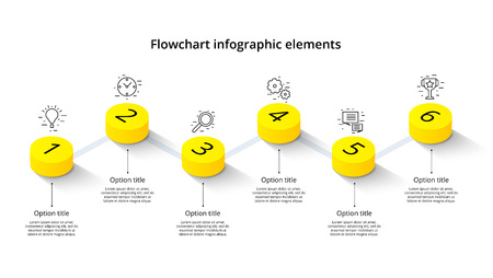 Business process chart infographics with 6 step segments. Isometric 3d corporate timeline infograph elements. Company presentation slide template. Modern vector info graphic layout design. Ilustrace