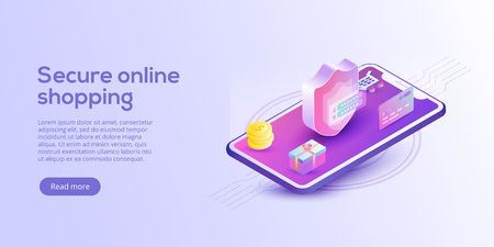 Online shopping or e-commerce isometric vector illustration. Internet store payment procedure  concept with smartphone and gift box. Secure bank transaction app with password verification. Illustration