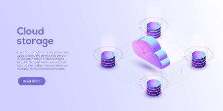Cloud storage download isometric vector illustration. Digital service or app with data transfering. Online computing technology. 3d servers and datacenter connection network. Stock Vector - 105800013