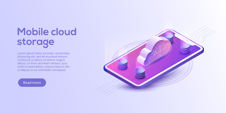 Cloud storage and cellphone download isometric vector illustration. Mobile gadget service or app with data transfering. Online computing technology. 3d server and smartphone connection network.