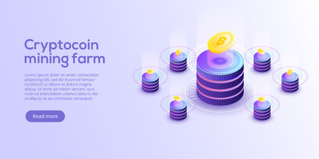 Cryptocoin mining farm layout. Cryptocurrency and blockchain network business isometric vector illustration. Crypto currency exchange or transaction process background.