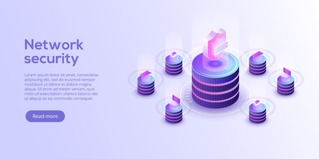 Network data security isometric vector illustration. Online server protection system concept with datacenter or blockchain. Secure bank transaction with password verification via internet. Ilustrace