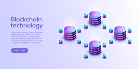 Hosting server isometric vector illustration. Abstract 3d datacenter or blockchain background. Network mainframe infrastructure website header layout. Computer storage or farming workstation. Illustration
