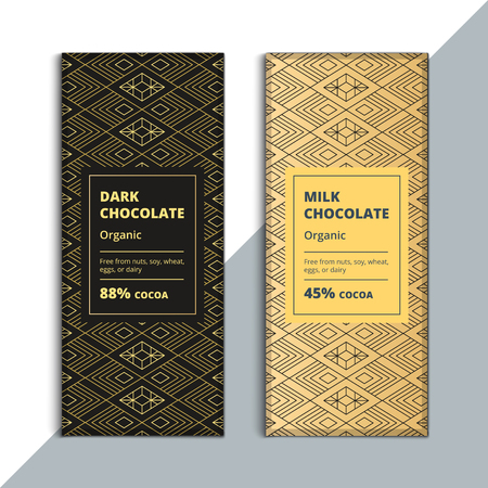 Organic dark and milk chocolate bar design. Creative abstract choco packaging vector mockup. Trendy luxury product branding template with label and pattern.