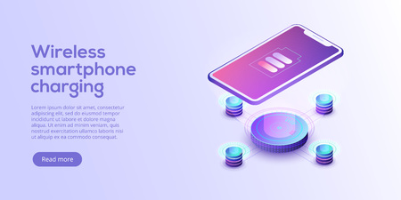 Inductive smartphone charging isometric vector illustration. Abstract 3d mobile wireless charger background. Website header layout for cordless power station device. Phone battery pad gadget concept.