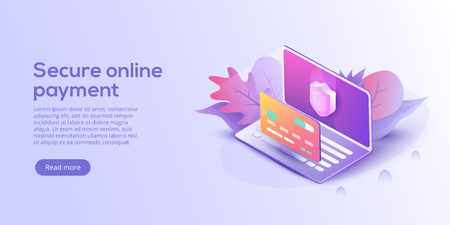 Secure online payment for e-commerce isometric vector illustration. Money transfer via Internet concept with laptop and credit card. Safe bank transaction app with id verification. Banque d'images - 111923732