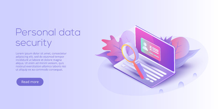 Personal data security isometric vector illustration. Online server id protection system concept. Secure login transaction with password verification via internet. Illustration