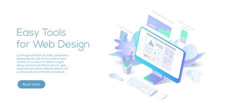 Web design conceptual isometric vector illustration. Website interface.
