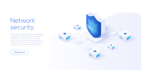 Network data security isometric vector illustration. Online server protection system concept with datacenter or blockchain. Secure bank transaction with password verification via internet. Stock Vector - 108443385