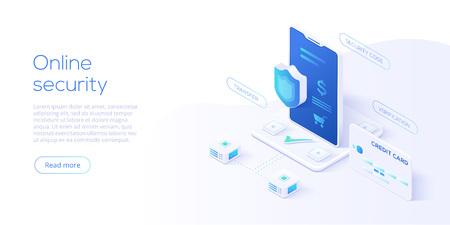 Ilustración de vector isométrico de seguridad de datos móviles. Sistema de protección de pagos online con smartphone y tarjeta de crédito. Transacción bancaria segura con verificación de contraseña a través de Internet.