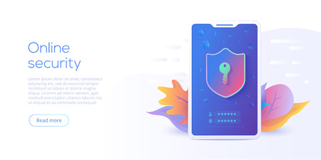 Mobile data security isometric vector illustration. Online protection system concept with smartphone and verification code filed. Secure transfer or transaction with password via internet. Illustration
