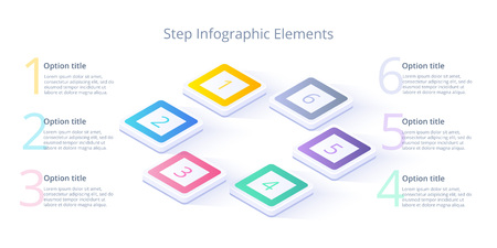 Business process chart infographics with 6 step segments. Isometric 3d corporate timeline infograph elements. Company presentation slide template. Modern vector info graphic layout design. Illustration