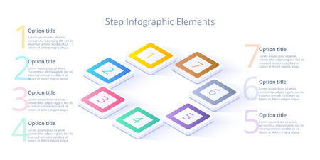 Business process chart infographics with 7 step segments. Isometric 3d corporate timeline infograph elements. Company presentation slide template. Modern vector info graphic layout design. Illustration