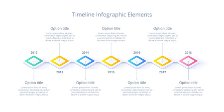 Isometric business timeline workflow infographics. Corporate milestones graphic elements. Company presentation slide template with year periods. Modern vector history time line design.