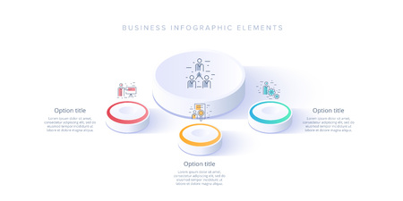 Business process chart infographics with 3 step segments. Isometric 3d corporate timeline infograph elements. Company presentation slide template. Modern vector info graphic layout design.
