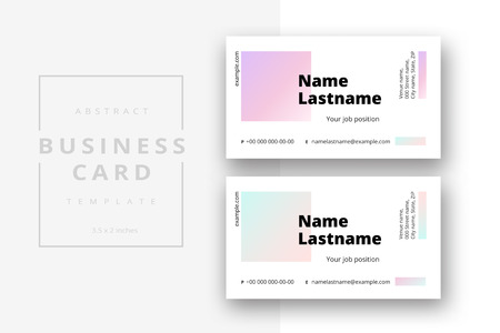 Trendy minimal abstract business card template in pink color. Modern corporate stationery id layout with geometric pattern. Vector fashion background design with information sample name text.