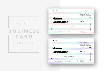 Trendy minimal abstract business card template in pink color. Modern corporate stationery id layout with geometric pattern. Vector fashion background design with information sample name text. Stock Vector - 110350191