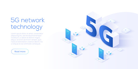 5g network technology in isometric vector illustration. Wireless mobile telecommunication service concept. Marketing website landing template. Smartphone internet speed connection background.