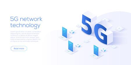 Tecnología de red 5g en ilustración vectorial isométrica. Concepto de servicio de telecomunicaciones móviles inalámbricas. Plantilla de aterrizaje de sitio web de marketing. Fondo de conexión de velocidad de internet de smartphone.