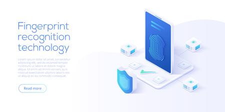 Fingerabdruckerkennungstechnologie in der isometrischen Vektorillustration. Konzept des Smartphone-ID-Sicherheitssystems. Finger-Touch-Scanner-App. Web-Landingpage-Vorlage. Vektorgrafik