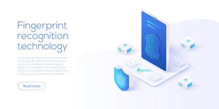 Vingerafdrukherkenningstechnologie in isometrische vectorillustratie. Smartphone-id beveiligingssysteem concept. Vingeraanraakscanner-app. Web bestemmingspagina sjabloon. Vector Illustratie
