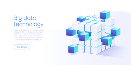 Big data technology in isometric vector illustration. Information storage and analysis system. Digital technology website landing page template. 向量圖像