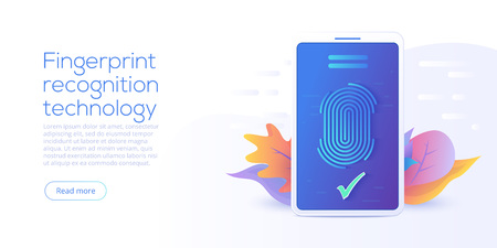 Fingerprint recognition technology in flat vector illustration. Smartphone id security system concept. Finger touch scanner app. Web landing page template.