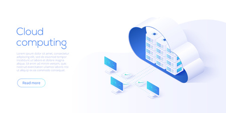 Cloud storage download isometric vector illustration. Digital service or app with data transfering. Online computing technology. 3d servers and datacenter connection network. Banque d'images - 110350196