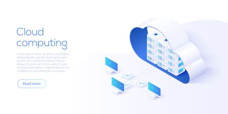 Ilustración de vector isométrica de descarga de almacenamiento en la nube. Servicio o aplicación digital con transferencia de datos. Tecnología informática en línea. Servidores 3d y red de conexión de centros de datos.