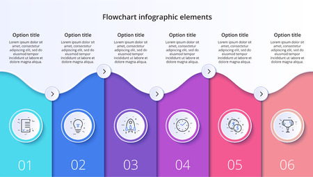 Business process chart infographics with 6 step segments. Circular corporate timeline infograph elements. Company presentation slide template. Modern vector info graphic layout design. Иллюстрация