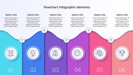 Zakelijke procesgrafiek infographics met 6 stapsegmenten. Circulaire zakelijke tijdlijn infograph-elementen. Bedrijfspresentatie dia-sjabloon. Modern vector info grafisch lay-outontwerp. Vector Illustratie