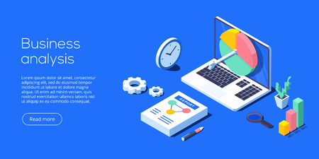 Business analysis isometric vector illustration. Data analytics for company marketing solutions or financial performance. Budget accounting or statistics concept.