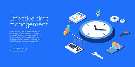 Illustration vectorielle isométrique de gestion efficace du temps. Tâche priorisant l'organisation pour une productivité efficace. Concept d'optimisation du calendrier des travaux. Vecteurs