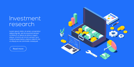 Business investment isometric vector illustration. Data analytics for company marketing solutions or financial performance. Budget accounting or statistics concept. Illustration