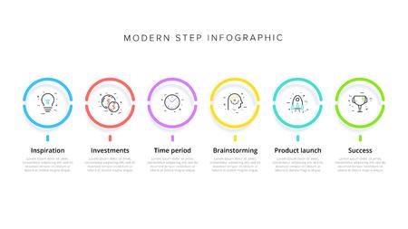 Infografiken zu Geschäftsprozessdiagrammen mit 6 Schrittkreisen. Kreisförmige grafische Elemente des Unternehmensworkflows. Präsentationsfolienvorlage für Unternehmensflussdiagramme. Vektor-Info-Grafik-Design.