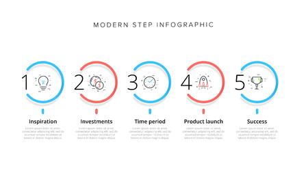 Infografica del grafico dei processi aziendali con 5 cerchi di passaggio. Elementi grafici circolari del flusso di lavoro aziendale. Modello di diapositiva di presentazione del diagramma di flusso aziendale. Progettazione grafica di informazioni vettoriali.