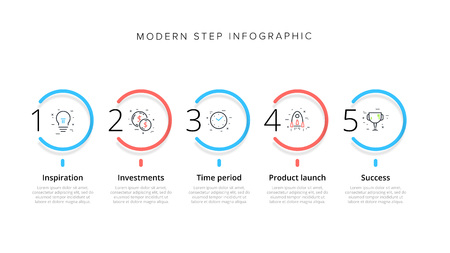Infografiki wykresu procesów biznesowych z 5 kręgami kroków. Okrągłe elementy graficzne korporacyjnego przepływu pracy. Szablon slajdu prezentacji schematu blokowego firmy. Projekt graficzny informacji wektor.