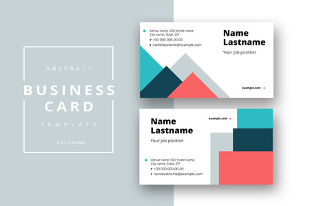Trendy minimal abstract business card template. Modern corporate stationery id layout with geometric pattern. Vector fashion background design with information sample name text. 向量圖像