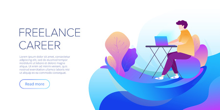 Freelance career abstract vector illustration in flat design. Freelancer working outside on laptop. Creative website layout or landing page template. Web banner concept.