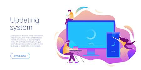Actualización del sistema o concepto de instalación de software en diseño vectorial plano. Ilustración creativa para actualización o mantenimiento de computadoras y teléfonos inteligentes. Diseño de página de destino del sitio web o plantilla de página web.