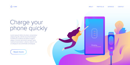 Cable smartphone charger in flat design illustration. Abstract vector background for mobile cord charging device. Web site landing page template or internet site layout for phone power station.