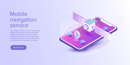 GPS navigation app concept in isometric vector illustration. Smartphone application for global positioning system. Satellite radionavigation or tracking system on mobile device. Illustration