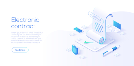 Electronic contract or digital signature concept in isometric vector illustration. Online e-contract document sign via smartphone or laptop. Website or webpage layout template. Ilustracja