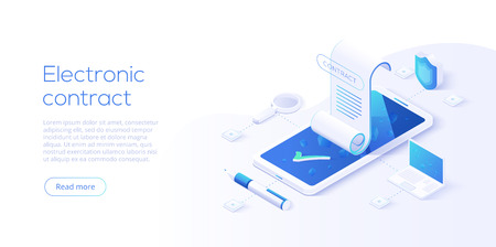 Contrato electrónico o concepto de firma digital en ilustración vectorial isométrica. Firma de documento de contrato electrónico en línea a través de teléfono inteligente o computadora portátil. Plantilla de diseño de sitio web o página web.