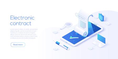 Contratto elettronico o concetto di firma digitale nell'illustrazione vettoriale isometrica. Firma del documento di contratto elettronico online tramite smartphone o laptop. Modello di layout di sito Web o pagina Web.