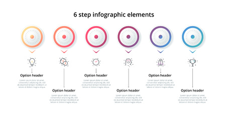 Business process chart infographic with 6 step circles. Circular corporate workflow graphic elements. Company flowchart presentation slide template. Vector info graphic design.